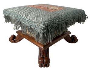 Pair of Small Square Wool Needlepoint Tapestry Tapered Footstools Raised on Outswept Mahogany Scroll Feet