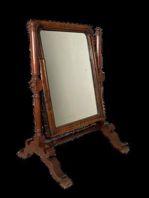 Turned Mahogany and Walnut Toiletry Mirror