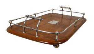 Silver Plated Galleried Oak Tray with Central Blank Cartouche