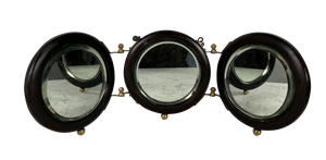 Folding Ebony Framed Tryptic Circular Travelling Mirror with Brass Hinges on Small Ball Feet