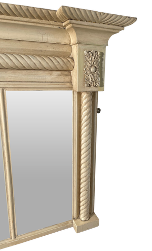 Tryptic Overmantle Mirror with Rope Design in Old Paint