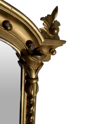 Carved Gilt Overmantle Mirror with Bevelled Plate