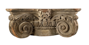 Carved Wooden Corinthian Column Capital with Original Paint