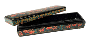Lacquered Hand Decorated Lidded Papier Mache Pen Box