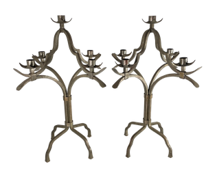 Pair of Painted Brutalist Iron Candelabras