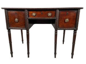 Small Kneehole Mahogany Writing Table with Rope Decoration Raised on Six Turned Legs and Fitted with Three Drawers