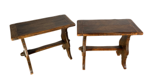 Pair of Jointed Stools with Pegged Stretchers