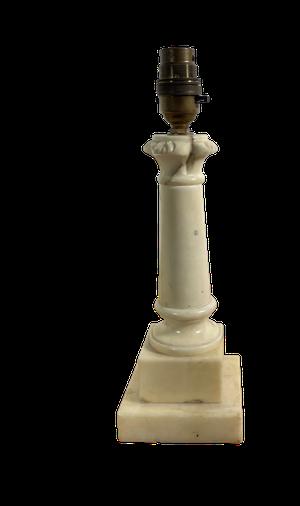 Carved Alabaster Column Lamp on Stepped Base