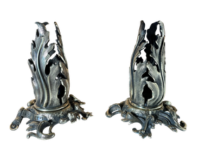 Pair of Polished Brass Nouveau Influenced Candle Holders