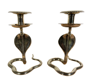 Pair of Embossed Brass Hooded Cobra Design Candlesticks