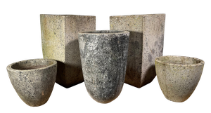 Collection of Five Brutalist Concrete Planters