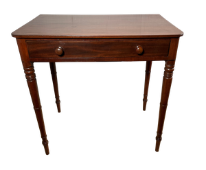 Victorian Mahogany Side Table with Ring Carved Legs and Single Frieze Drawer