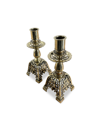 Pair of Pierced Brass Dome Based Candle Sticks