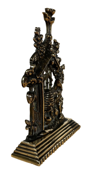 Brass Doorstop Modelled with Two Bears and a Beehive