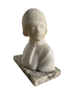 Albaster Bust of a Child Wearing a Hat and Scarf Mounted on a Carrera Marble Base