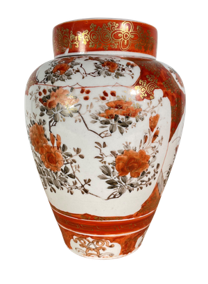 Meiji Period Kutani Lidded Ginger Jar