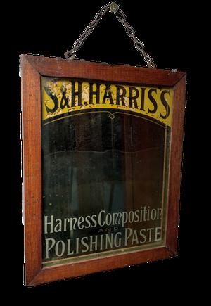 Wooden Framed Advertising Mirror for S & H Harris