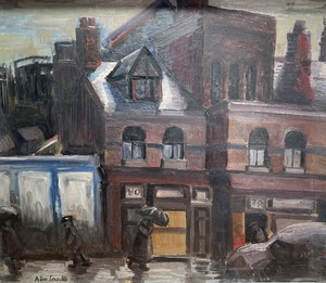 Oil on Board of a Rainy Street Scene signed Alan Lowndes