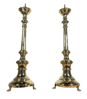 Pair of Polished Brass Pricket Sticks