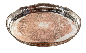 Old Sheffield Plated Galleried Tray with Engraved Floral Decoration