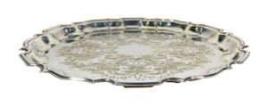 Floral Engraved Old Sheffield Plated Salver