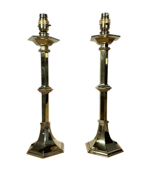 Pair of Later Converted Hexagonal Brass Candlestick Table Lamps