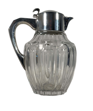 Cut Glass Silver Plated Water Jug with Hinged Lid