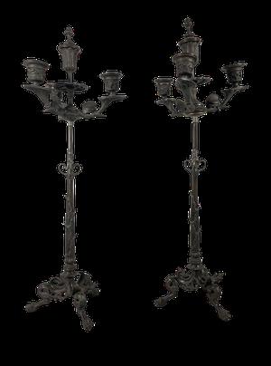 Pair of Bronze Candelabrums