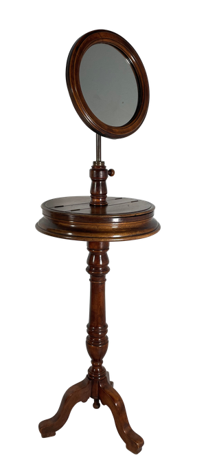 Mahogany Pedestal Shaving Stand on Tripod Base with Two Lidded Semi Circle Compartments