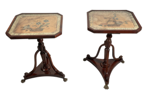 Pair of Square Mahogany Column Side Tables With Faded Silk Tapestries Under Glass Tops Raised on a Triangular Base with Brass Lion Paw Feet