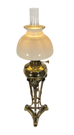 Converted Victorian Brass Oil Lamp with Opaline Shade
