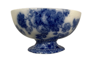 Large Flo Blue Staffordshire Footed Punch Bowl