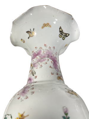 Pair of Highly Decorated Flare Rimmed Meiji Period Kutani Vases