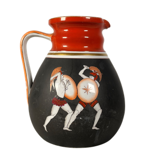 Prattware Jug Decorated on Both Sides with the Combat of Hector and Ajax and Hector's Body Dragged at the Car of Achilles