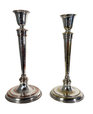 Two Plated Candlesticks