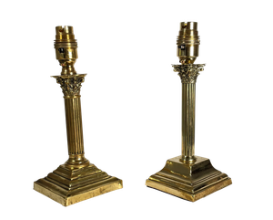 Matched Pair of Small Brass Corinthian Column Table Lamps