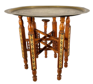 Folding Mameluke Style Table with Embossed Brass Tray Top