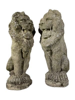 Pair of Composite Seated Lions