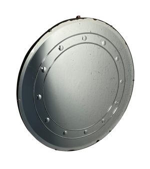 Frameless Circular Mirror Edged with Small Repeating Convex Mirrored Circles