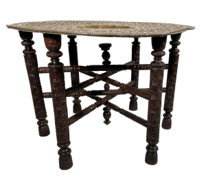 Folding Mameluke Style Table with Engraved Brass Tray Top