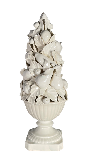 White Glazed Casa Pupo Centre Piece of Fruit in a Fluted Bowl