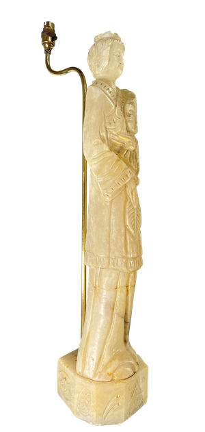 Tall Carved Alabaster Figurine Table Lamp