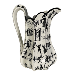 Staffordshire Baluster Fluted Jug Decorated with Figures in a Folk Style