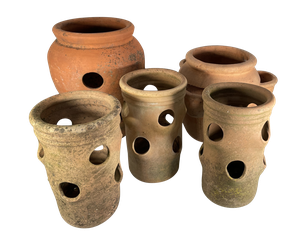Collection of Five Terracotta Strawberry Plant Pots