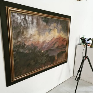 We've been busy at Fontaine HQ photographing another 50 items ready for next week's stock upload. We have around 20 new paintings that we are thrilled to have hunted down including this huge 19thc oil on canvas landscape of the French Alps.  #antiquedealersofinstagram #interiordecorating #herefordshire #interieur #interior #interiordesign #antiques #ledbury #uplands #antiquesforsale #antiqueinteriors #antiquesaregreen #decorativefair #oiloncanvas #antiquepainting #art #painting #frenchalps #landscapepainting